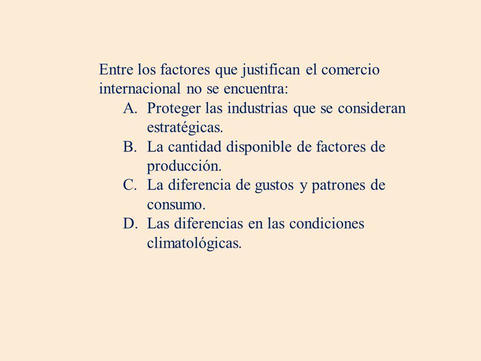 Entre los factores que justifican el comercio internacional no se encuentra: