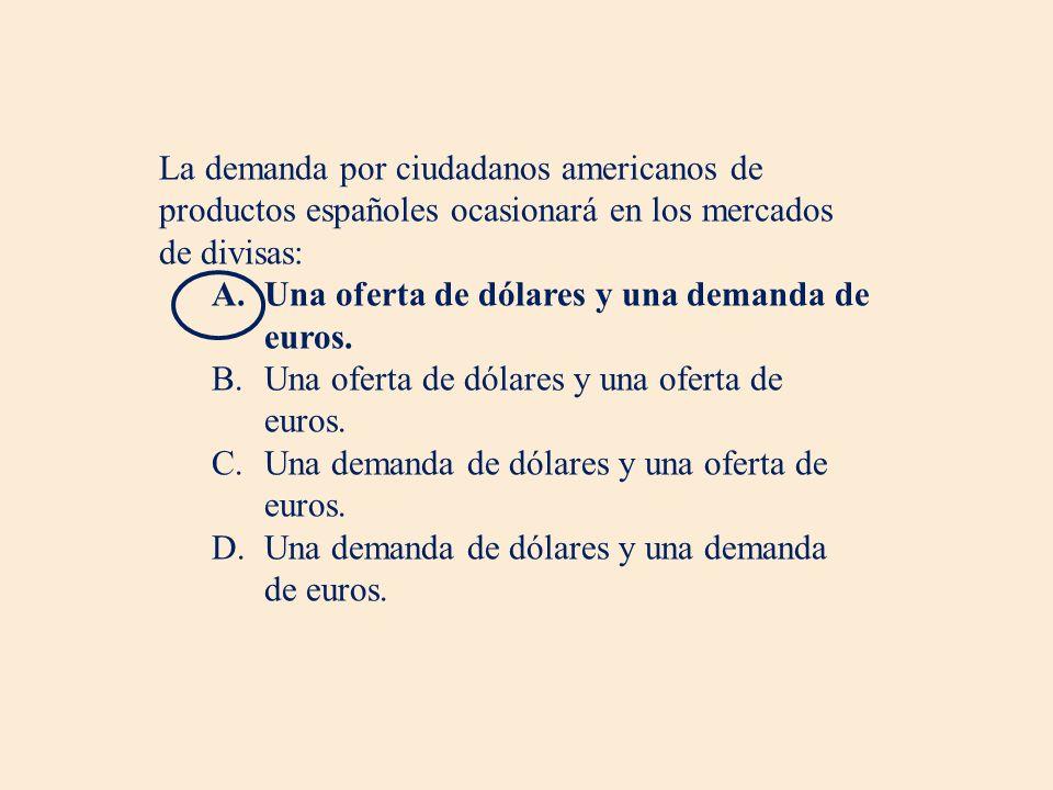 La demanda por ciudadanos americanos de productos españoles ocasionará en los mercados de divisas: