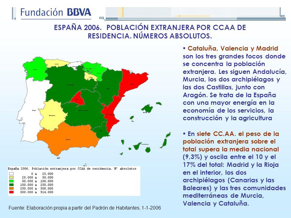 ESPAÑA 2006. POBLACIÓN EXTRANJERA POR CCAA DE RESIDENCIA