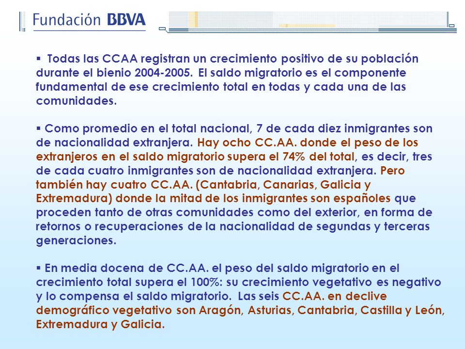 Todas las CCAA registran un crecimiento positivo de su población durante el bienio 2004-2005. El saldo migratorio es el componente fundamental de ese crecimiento total en todas y cada una de las comunidades.