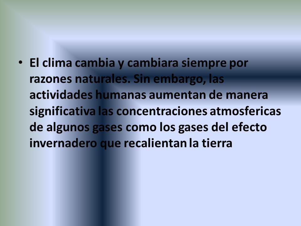 El clima cambia y cambiara siempre por razones naturales