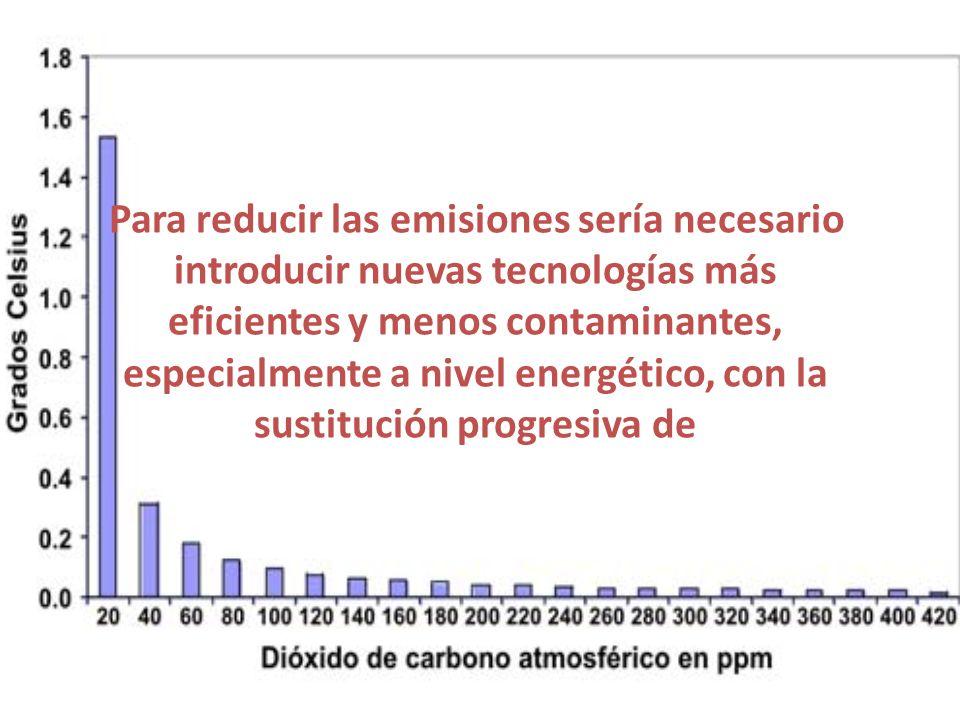 Para reducir las emisiones sería necesario introducir nuevas tecnologías más eficientes y menos contaminantes, especialmente a nivel energético, con la sustitución progresiva de