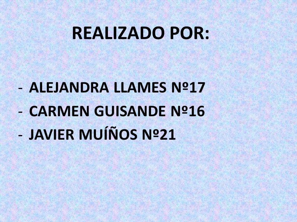 REALIZADO POR: ALEJANDRA LLAMES Nº17 CARMEN GUISANDE Nº16