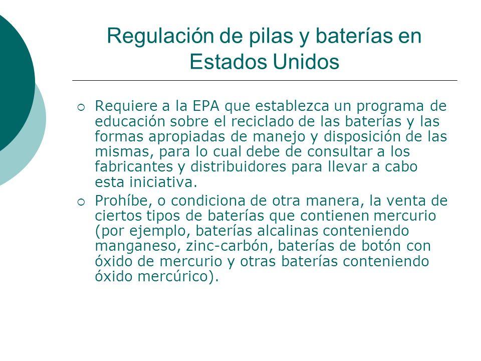 Regulación de pilas y baterías en Estados Unidos