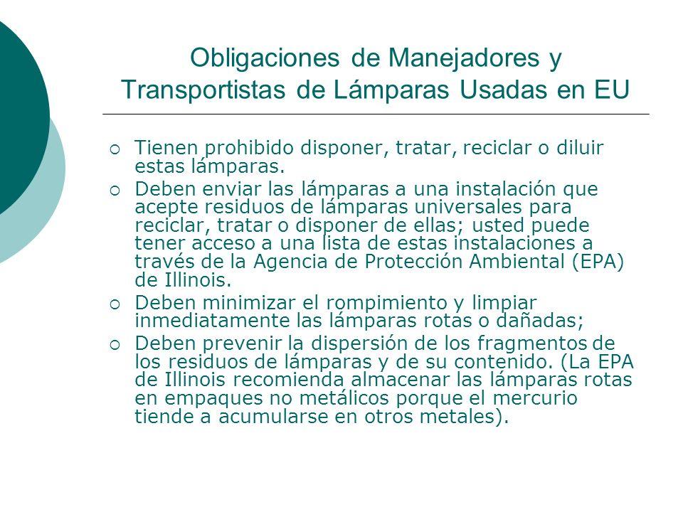Obligaciones de Manejadores y Transportistas de Lámparas Usadas en EU