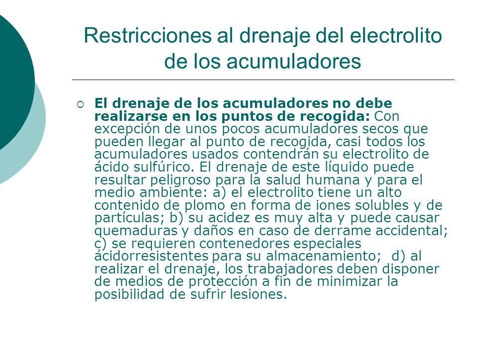 Restricciones al drenaje del electrolito de los acumuladores
