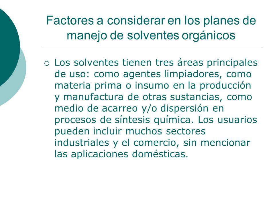 Factores a considerar en los planes de manejo de solventes orgánicos