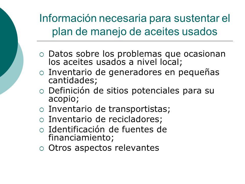 Información necesaria para sustentar el plan de manejo de aceites usados