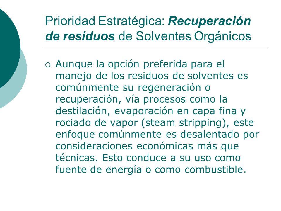 Prioridad Estratégica: Recuperación de residuos de Solventes Orgánicos