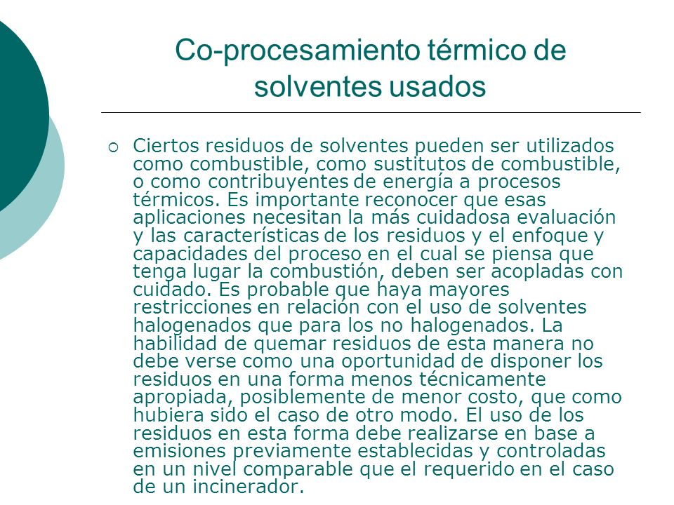 Co-procesamiento térmico de solventes usados
