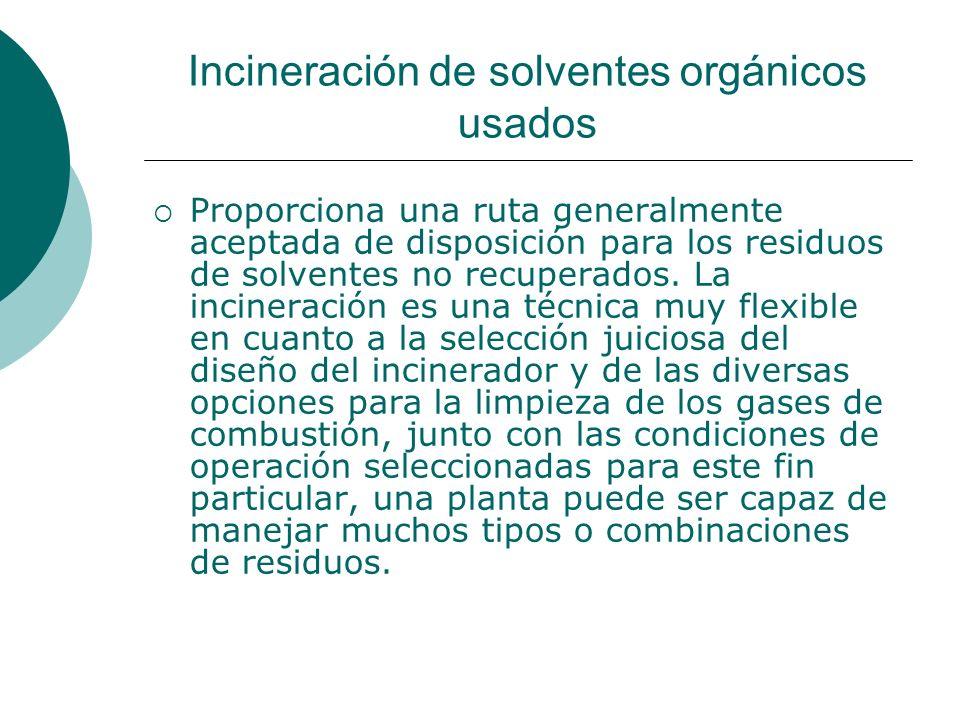 Incineración de solventes orgánicos usados