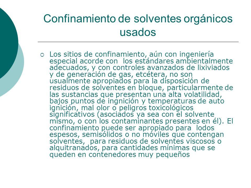 Confinamiento de solventes orgánicos usados