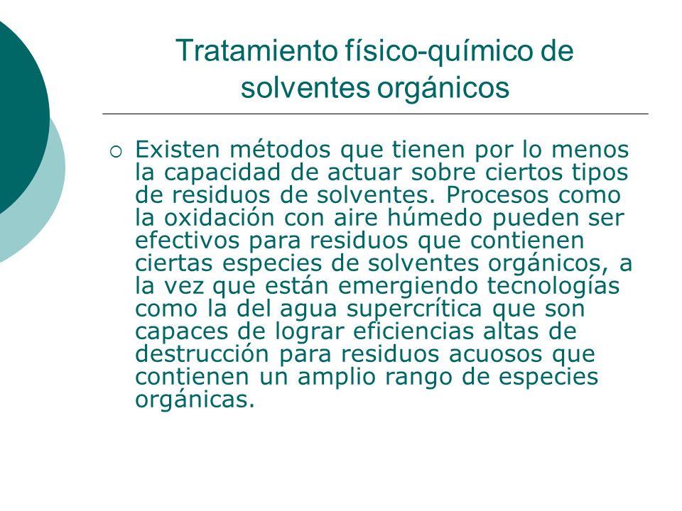 Tratamiento físico-químico de solventes orgánicos