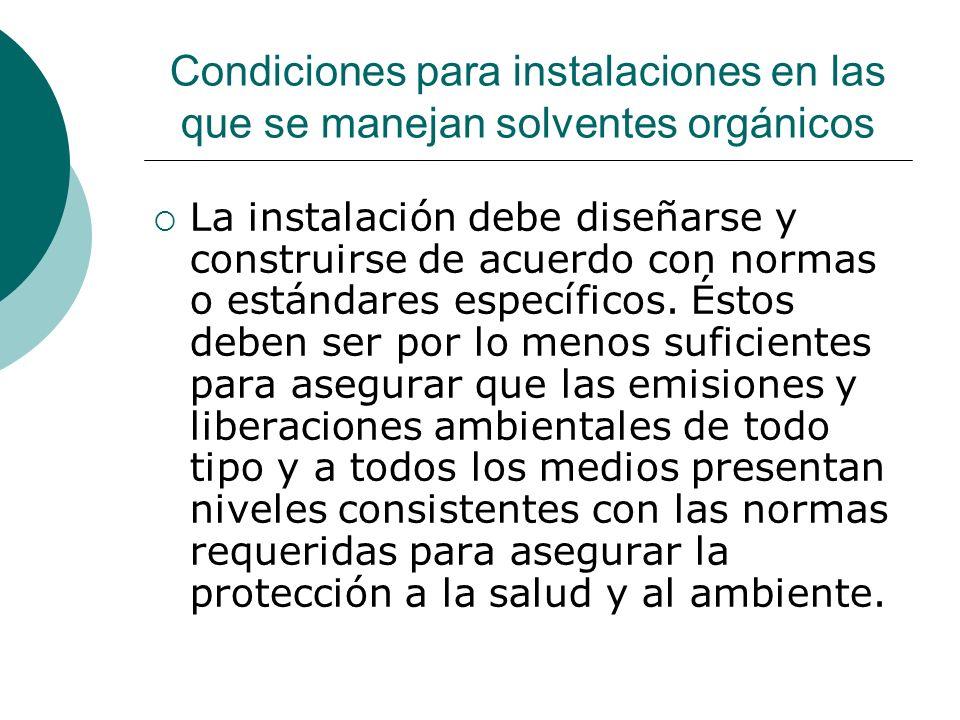 Condiciones para instalaciones en las que se manejan solventes orgánicos