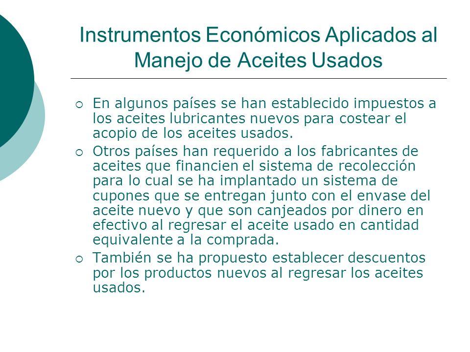 Instrumentos Económicos Aplicados al Manejo de Aceites Usados