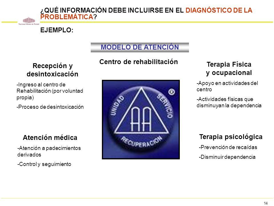 Centro de rehabilitación Recepción y desintoxicación