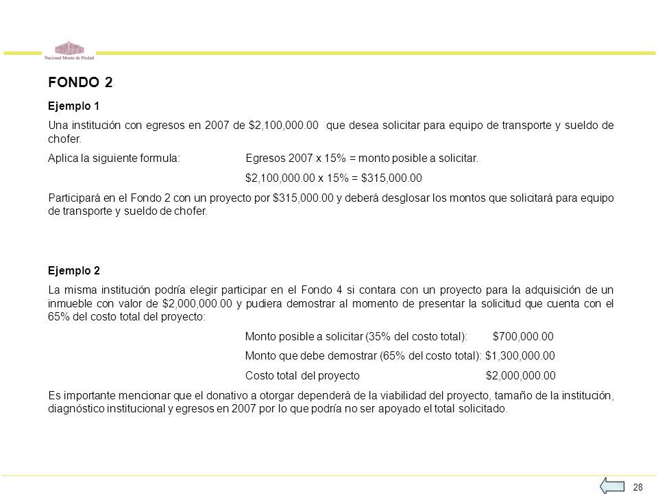 FONDO 2 Ejemplo 1. Una institución con egresos en 2007 de $2,100,000.00 que desea solicitar para equipo de transporte y sueldo de chofer.