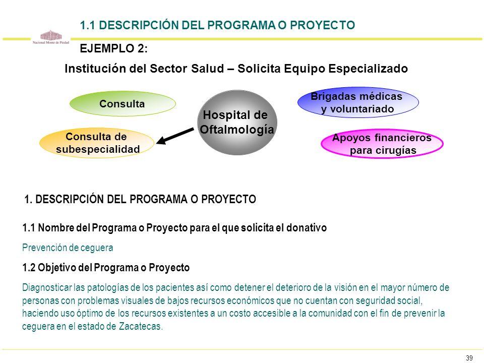 Institución del Sector Salud – Solicita Equipo Especializado