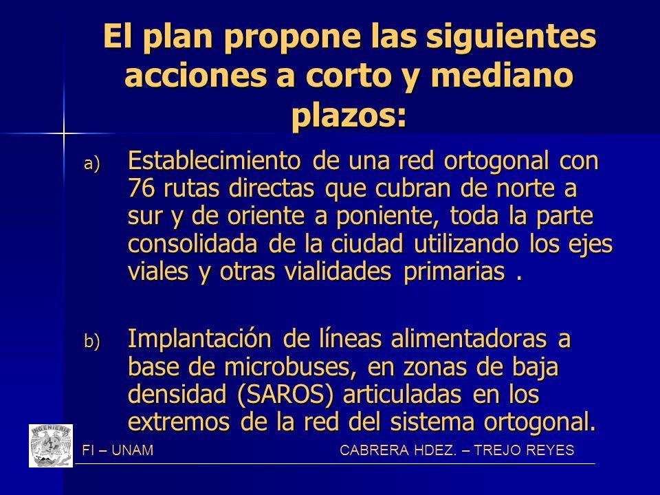 El plan propone las siguientes acciones a corto y mediano plazos: