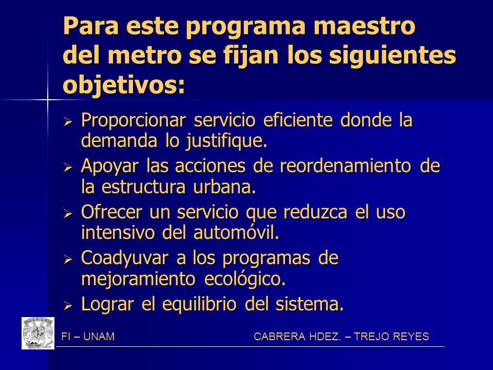 Para este programa maestro del metro se fijan los siguientes objetivos: