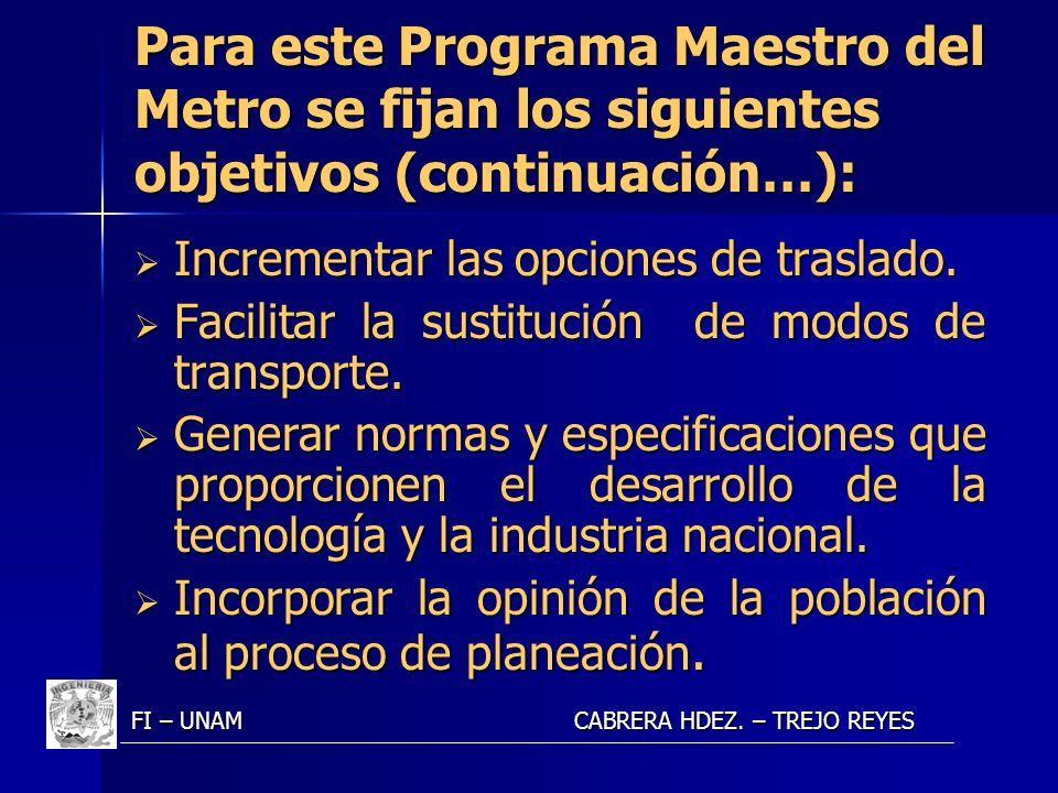Para este Programa Maestro del Metro se fijan los siguientes objetivos (continuación…):