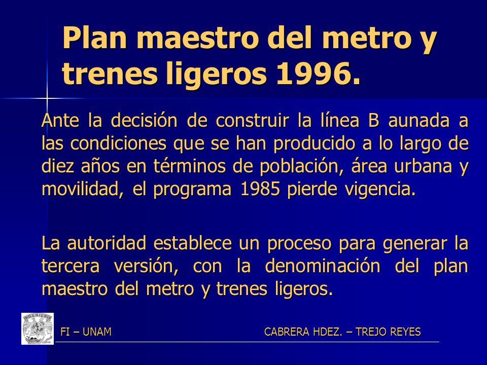 Plan maestro del metro y trenes ligeros 1996.