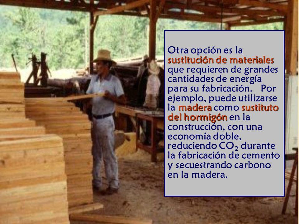 Otra opción es la sustitución de materiales que requieren de grandes cantidades de energía para su fabricación. Por ejemplo, puede utilizarse la madera como sustituto del hormigón en la construcción, con una economía doble, reduciendo CO2 durante la fabricación de cemento y secuestrando carbono en la madera.