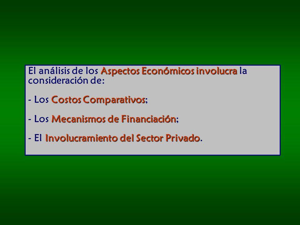 El análisis de los Aspectos Económicos involucra la consideración de: - Los Costos Comparativos; - Los Mecanismos de Financiación; - El Involucramiento del Sector Privado.