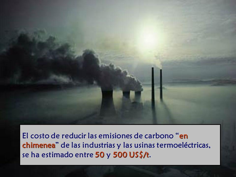 El costo de reducir las emisiones de carbono en chimenea de las industrias y las usinas termoeléctricas, se ha estimado entre 50 y 500 US$/t.