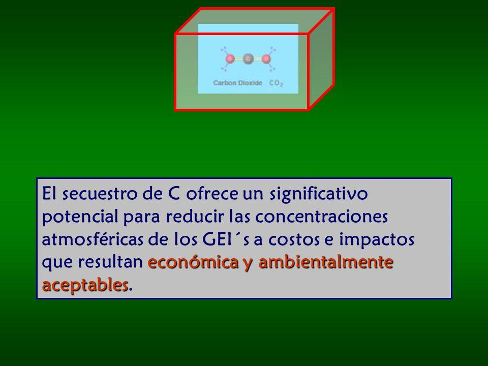 El secuestro de C ofrece un significativo potencial para reducir las concentraciones atmosféricas de los GEI´s a costos e impactos que resultan económica y ambientalmente aceptables.