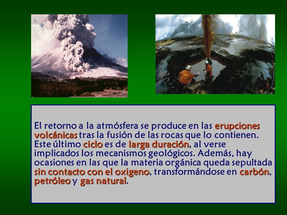 El retorno a la atmósfera se produce en las erupciones volcánicas tras la fusión de las rocas que lo contienen.