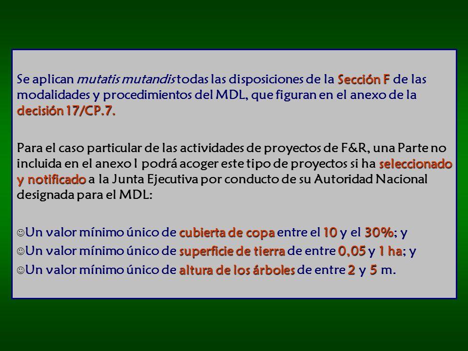 Se aplican mutatis mutandis todas las disposiciones de la Sección F de las modalidades y procedimientos del MDL, que figuran en el anexo de la decisión 17/CP.7.