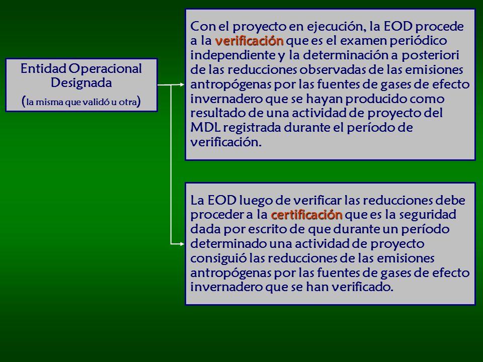 Entidad Operacional Designada (la misma que validó u otra)