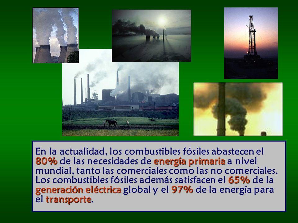 En la actualidad, los combustibles fósiles abastecen el 80% de las necesidades de energía primaria a nivel mundial, tanto las comerciales como las no comerciales.