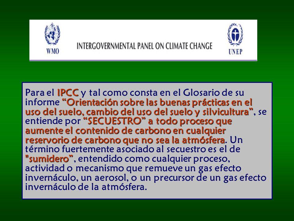 Para el IPCC y tal como consta en el Glosario de su informe Orientación sobre las buenas prácticas en el uso del suelo, cambio del uso del suelo y silvicultura , se entiende por SECUESTRO a todo proceso que aumente el contenido de carbono en cualquier reservorio de carbono que no sea la atmósfera.