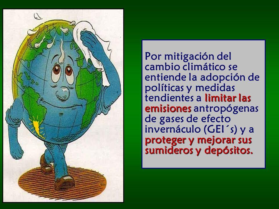 Por mitigación del cambio climático se entiende la adopción de políticas y medidas tendientes a limitar las emisiones antropógenas de gases de efecto invernáculo (GEI´s) y a proteger y mejorar sus sumideros y depósitos.