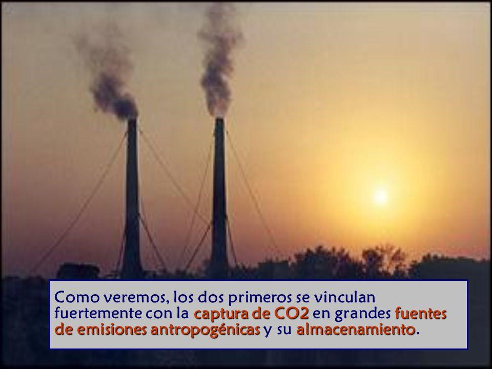 Como veremos, los dos primeros se vinculan fuertemente con la captura de CO2 en grandes fuentes de emisiones antropogénicas y su almacenamiento.
