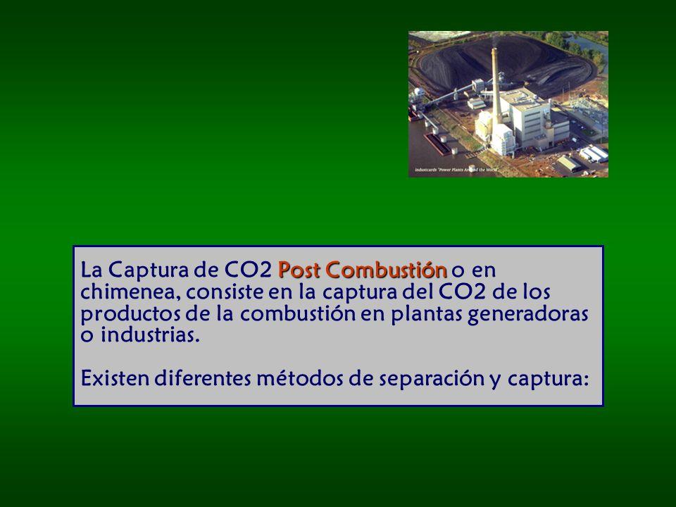 La Captura de CO2 Post Combustión o en chimenea, consiste en la captura del CO2 de los productos de la combustión en plantas generadoras o industrias.