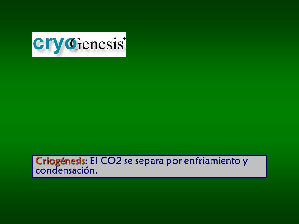 Criogénesis: El CO2 se separa por enfriamiento y condensación.