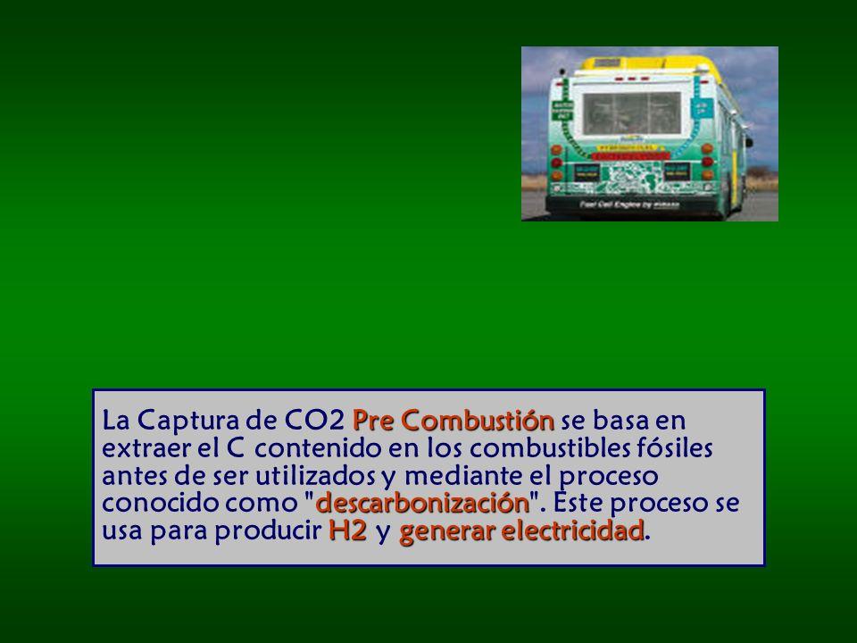 La Captura de CO2 Pre Combustión se basa en extraer el C contenido en los combustibles fósiles antes de ser utilizados y mediante el proceso conocido como descarbonización .