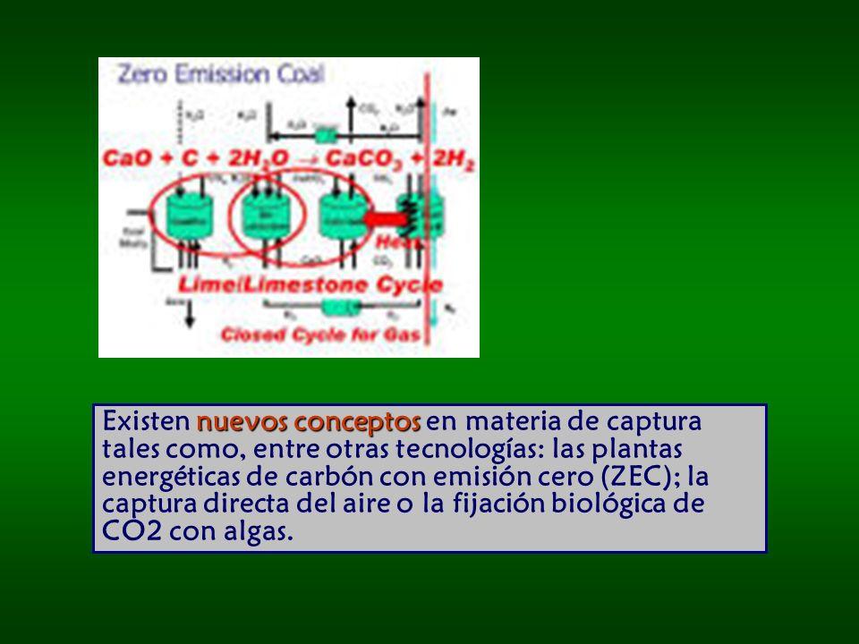 Existen nuevos conceptos en materia de captura tales como, entre otras tecnologías: las plantas energéticas de carbón con emisión cero (ZEC); la captura directa del aire o la fijación biológica de CO2 con algas.