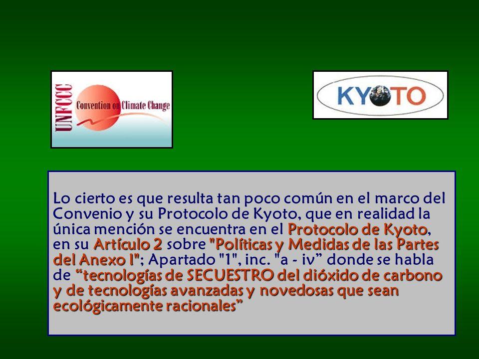 Lo cierto es que resulta tan poco común en el marco del Convenio y su Protocolo de Kyoto, que en realidad la única mención se encuentra en el Protocolo de Kyoto, en su Artículo 2 sobre Políticas y Medidas de las Partes del Anexo I ; Apartado 1 , inc.