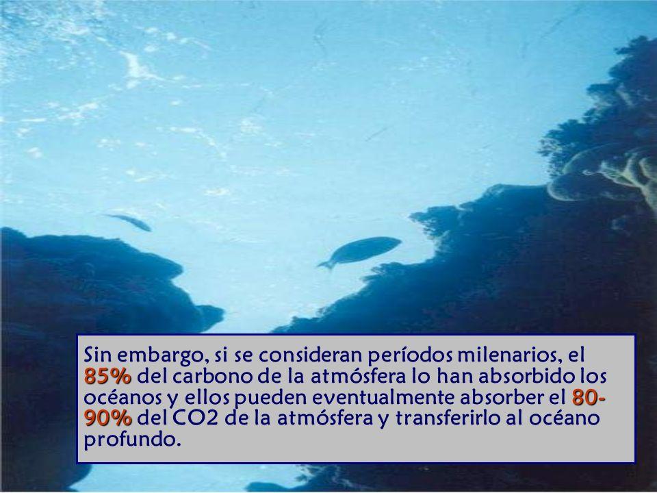 Sin embargo, si se consideran períodos milenarios, el 85% del carbono de la atmósfera lo han absorbido los océanos y ellos pueden eventualmente absorber el 80-90% del CO2 de la atmósfera y transferirlo al océano profundo.