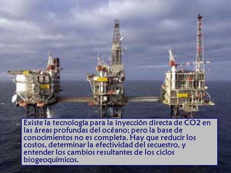 Existe la tecnología para la inyección directa de CO2 en las áreas profundas del océano; pero la base de conocimientos no es completa.