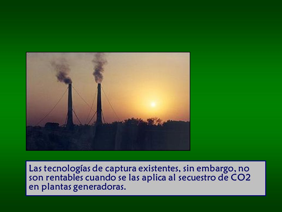 Las tecnologías de captura existentes, sin embargo, no son rentables cuando se las aplica al secuestro de CO2 en plantas generadoras.