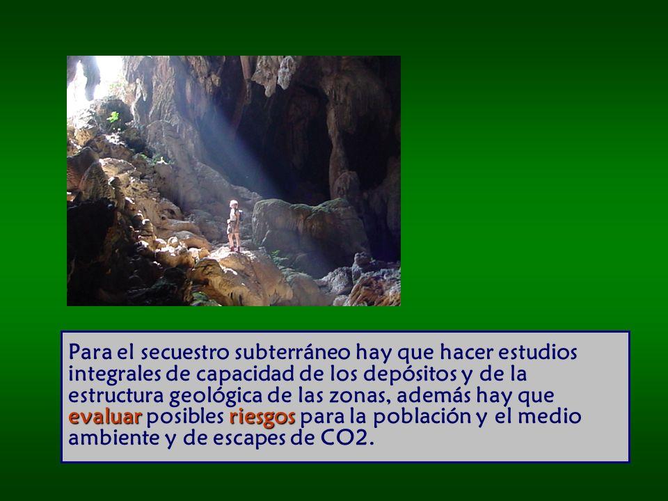 Para el secuestro subterráneo hay que hacer estudios integrales de capacidad de los depósitos y de la estructura geológica de las zonas, además hay que evaluar posibles riesgos para la población y el medio ambiente y de escapes de CO2.