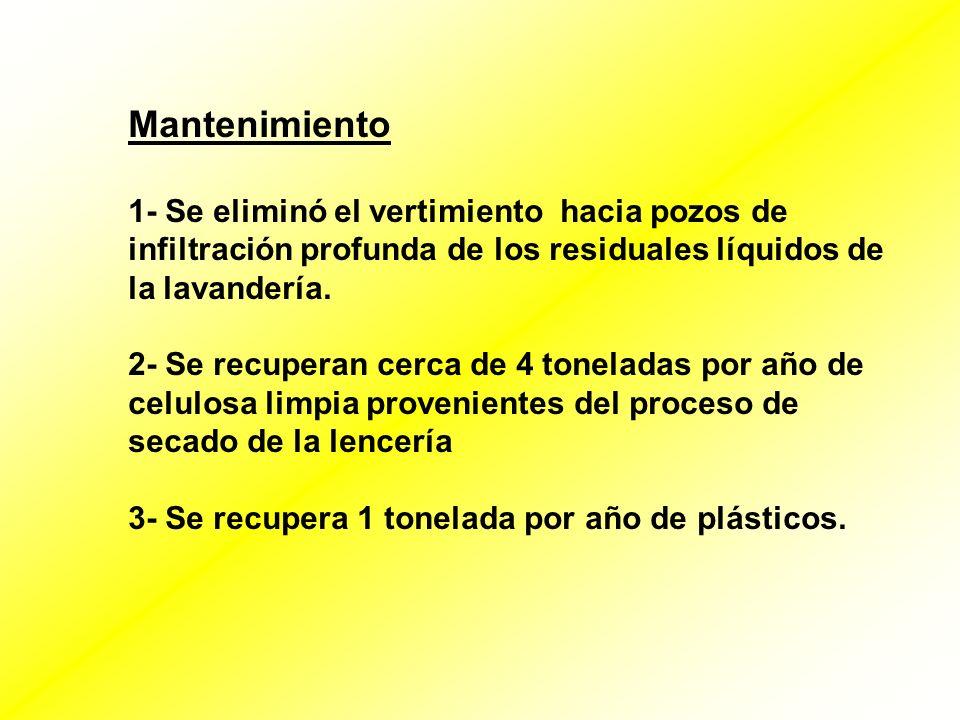 Mantenimiento 1- Se eliminó el vertimiento hacia pozos de infiltración profunda de los residuales líquidos de la lavandería.