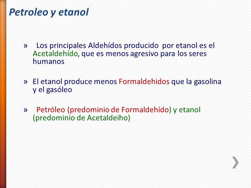 Petroleo y etanol Los principales Aldehídos producido por etanol es el Acetaldehído, que es menos agresivo para los seres humanos.
