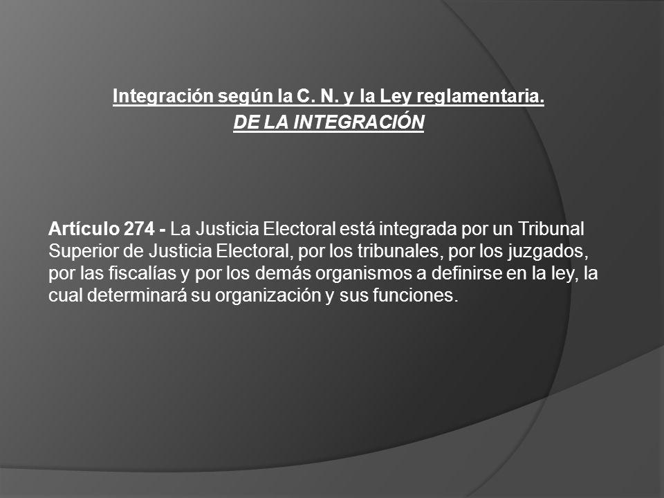 Integración según la C. N. y la Ley reglamentaria.