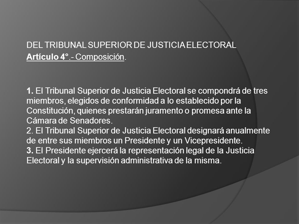 DEL TRIBUNAL SUPERIOR DE JUSTICIA ELECTORAL